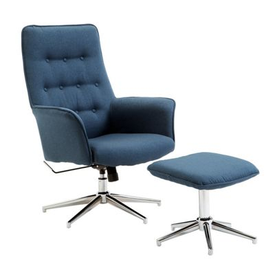 Homcom Linen Office Swivel Chair Stool Set Modern Reclining Wingback Desk Seat - Blue