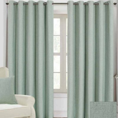 Homescapes Duck Egg Blue Linen Eyelet Lined Curtain Pair, 66 x 90