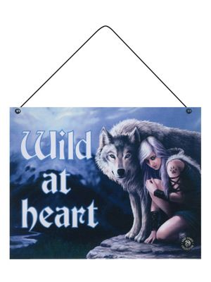 Anne Stokes Wild At Heart Tin Sign 24x19cm,
