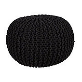 EHC Braided Hand Knitted Round Foot Stool Pouffe, Black