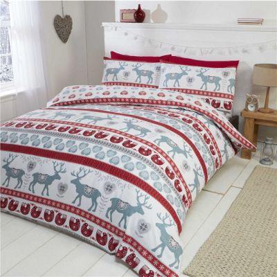 Rapport Skandi Red Brushed Cotton Christmas Duvet Cover Set - Single