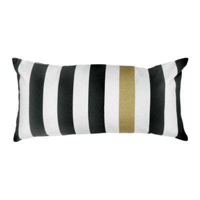 Miss Etoile Cushion Rectangular Black White & Gold Stripes 60 x 20 cm