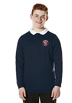 Unisex Embroidered Cotton Blend School Sweatshirt with As New Technology - Navy blue