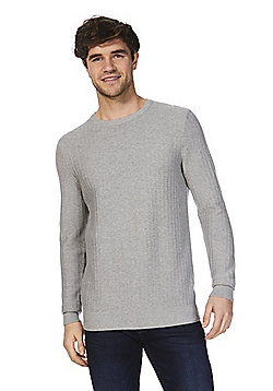 F&F Textured Knit Jumper - Grey