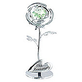 """""""55th Anniversary"""" Silver Plated Flower with Green Swarovski Crystal Glass"""