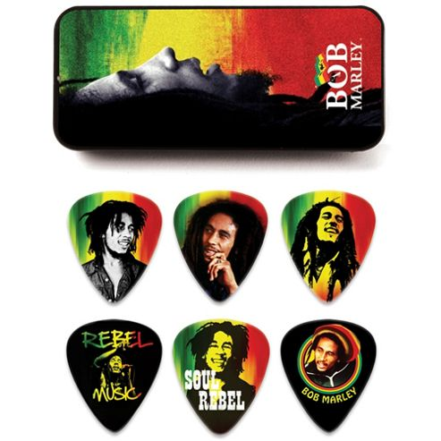 Bob Marley Rasta Pick Tin, Heavy - 6 Picks