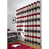 Pimlico Striped Chenille Eyelet Lined Curtains - Chocolate