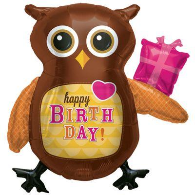 Birthday Owl Balloon - 36 inch Foil