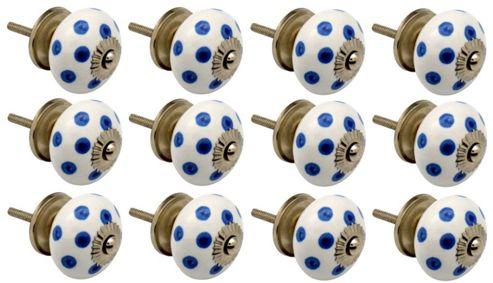 Ceramic Cupboard Drawer Knobs - Polka Dot Design - White / Dark Blue - Pack Of 12