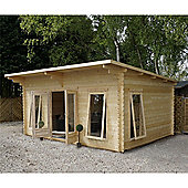 5.2m x 4m (13ft x 17ft) Sutton Pent Log Cabin (Single Glazing) 44mm T&G Garden Cabin - Fast Delivery - Pick A Day