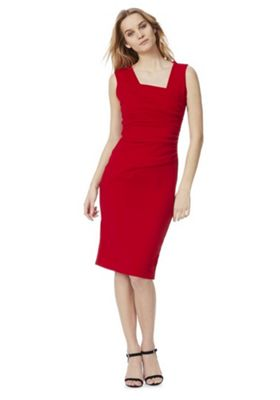 Feverfish Asymmetric Ruched Pleat Pencil Dress Red 18