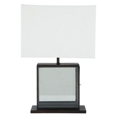 Square Metal and Glass Table Lamp Complete