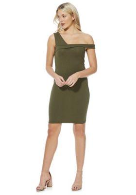 Noisy May Asymmetric Sleeve Detail Bodycon Dress XL Khaki