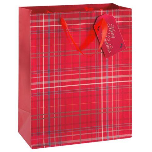 Tesco Red Tartan Christmas Gift Bag, Large