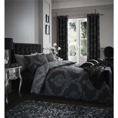 Damask duvet cover and pillowcase set - black - single