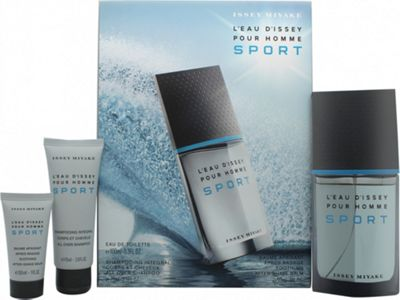 Issey Miyake L'Eau d'Issey Pour Homme Sport Gift Set 100ml EDT + 75ml All Over Shampoo + 30ml Aftershave Balm For Men