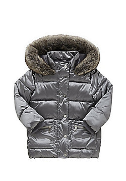 F&F Faux Fur Hooded Padded Jacket - Silver