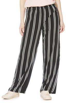 JDY Striped Wide Leg Trousers Black/White 34 Waist