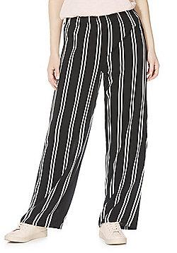 JDY Striped Wide Leg Trousers - Black/White