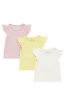 F&F 3 Pack of Frill Sleeve T-Shirts - Multi