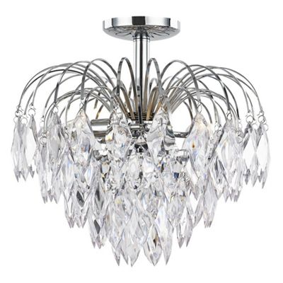 Chrome Semi Flush Waterfall Ceiling Light with Acrylic Pendalogues