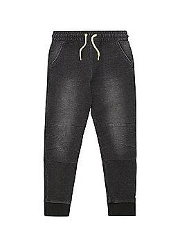 F&F Denim Effect Cuffed Joggers - Washed black