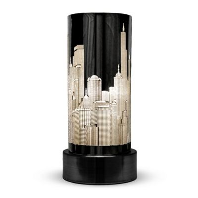 New York Skyline Touch Table Lamp, Gloss Black