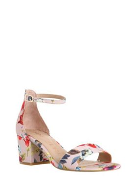 F&F Sensitive Sole Floral Print Block Heel Sandals Red/Multi Adult 5