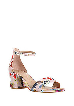 F&F Sensitive Sole Floral Print Block Heel Sandals - Red/Multi