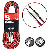 Stagg SGC6VT Vintage Tweed Instrument Cable - 6m Red