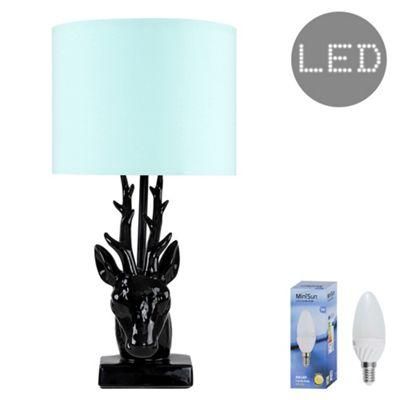 48cm Ceramic Stags Head LED Table Lamp - Black & Duck Egg Blue