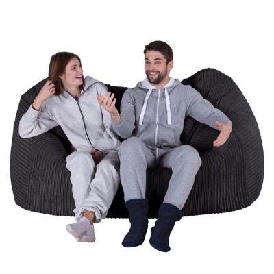 Lounge Pug® Huge Bean Bag Sofa - Cord Black