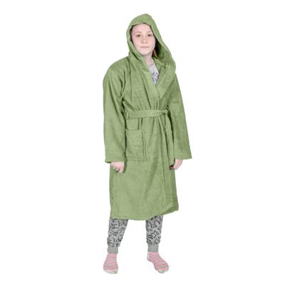 Homescapes Green 100% Combed Egyptian Cotton Hooded Kids Bathrobe, Large