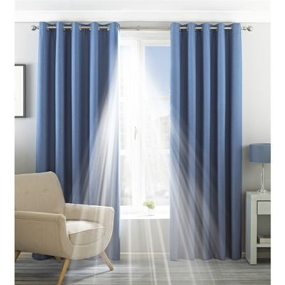 Riva Home Eclipse Blackout Natural Eyelet Curtains - 46x54 Inches (117x137cm)