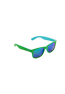 Tinc Two-Tone Mirrored Sunglasses with Polarized Lens - Green/Blue