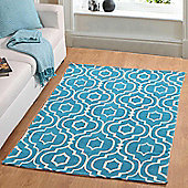 Homescapes Riga Handwoven Teal and White 100% Cotton Printed Patterned Rug, 160 x 230 cm
