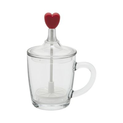 Frabosk Limpido Glass Cappuccino Creamer Milk Frother Love Heart 3 Cup