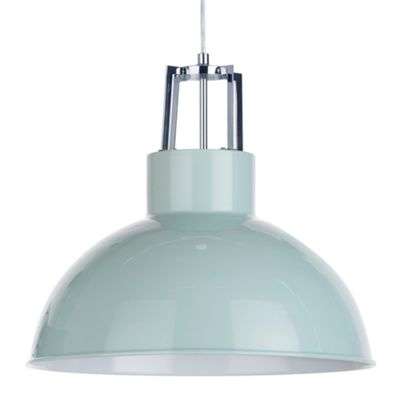 Litecraft Lupo 1 Bulb Industrial Style Parabolic Ceiling Pendant, Duck Egg Blue