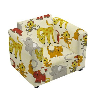 Children's Jungle Party Upholstered Armchair with Straight Arms
