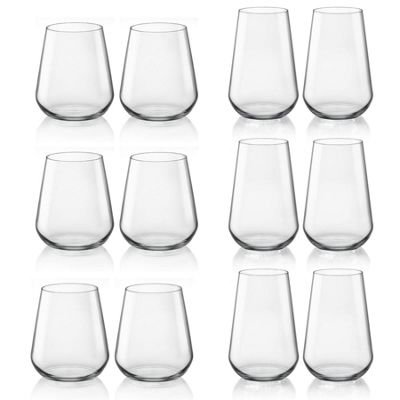 Bormioli Rocco Inalto Uno Hiball Cocktail Glass & Small Whiskey Tumbler - Set of 12
