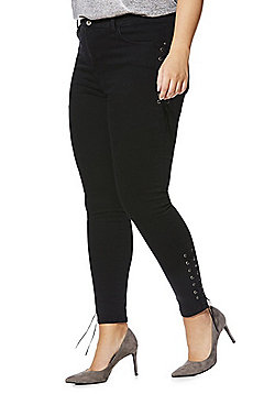 Simply Be Chloe Lace-Up Seam Skinny Jeans - Black