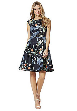 Solo Floral Jacquard Fit and Flare Dress - Navy