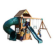 Selwood Spey Climbing Frame - Tube slide, straight slide swings & playhouse