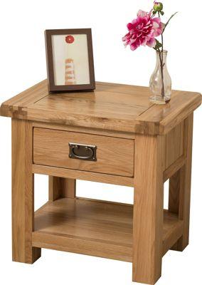 Cottage Solid Oak 1 Drawer Lamp Side Table Cabinet Bedroom Furniture