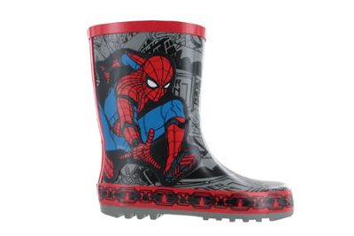 Boys Spiderman Thick Rubber Grey & Red Wellies Rain Boots Sizes UK Infant 7
