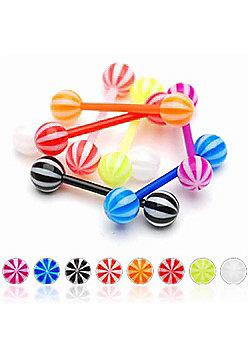Urban Male Pack Of Eight Flexible Teflon Straight Body Piercing Barbells & UV Balls