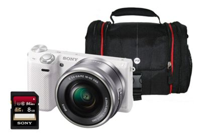 Sony NEX-5RL White CSC Camera Kit inc 16-50mm Lens, 8GB Class 10 SD Card & Bag