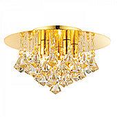 Champagne Crystal (k9) Drops & Gold Effect Plate 5lt Flush 33W