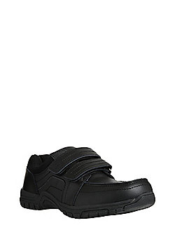F&F Coated Leather Scuff Resistant Double Riptape School Shoes - Black