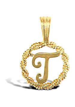 Jewelco London 9ct Gold Rope Initial ID Personal Pendant, Letter T - 0.9g